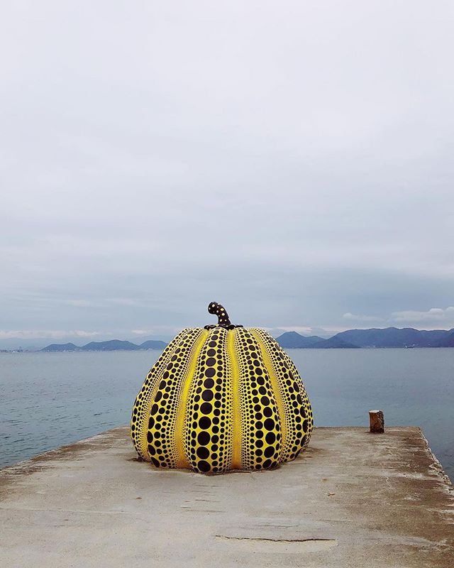 "Japanese pop artist Yayoi Kusama's yellow pumpkin has become the unofficial icon of the island of Naoshima, also known as the ""Art Island"" due the numerous art institutions and works, including the Chichu Museum, the Art House Project and Benesse House.  Photo by: @the_coach"