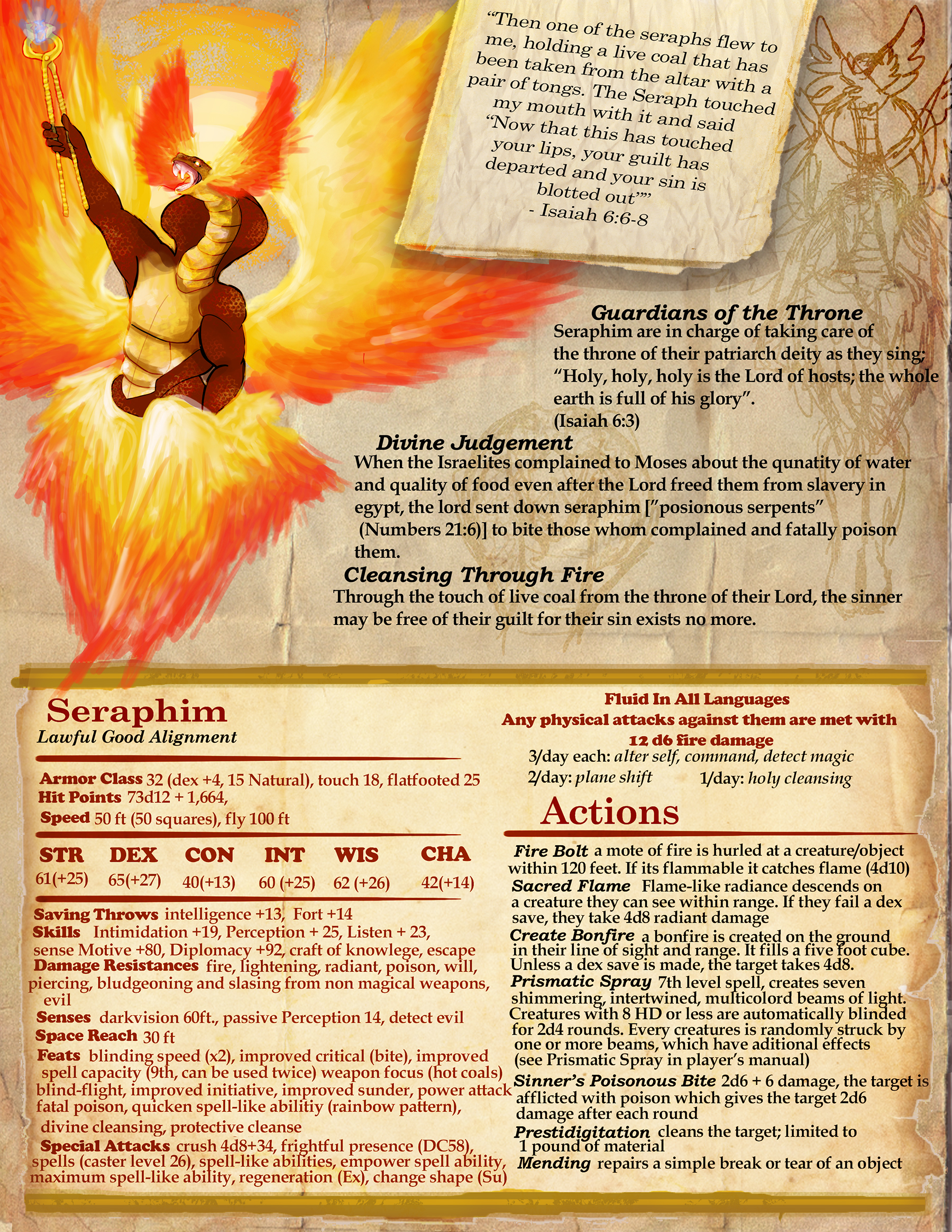 Seraphim Dungeons and Dragons Monster Sheet [Homebrew]