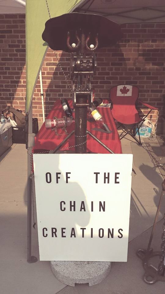 Birthed from scrap and fire we would like to introduce you to our number one employee, Scrappy the off the chain creations mascot!
