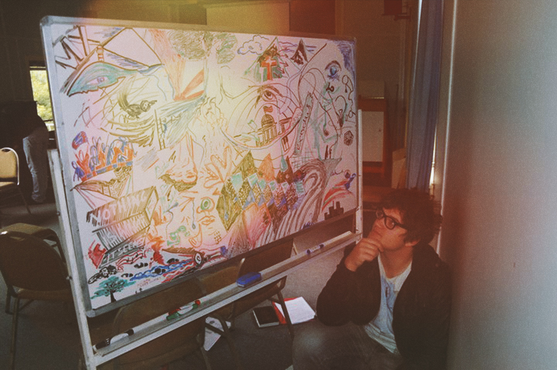 A Mural I drew on a whiteboard with my mate Cameron in 2011