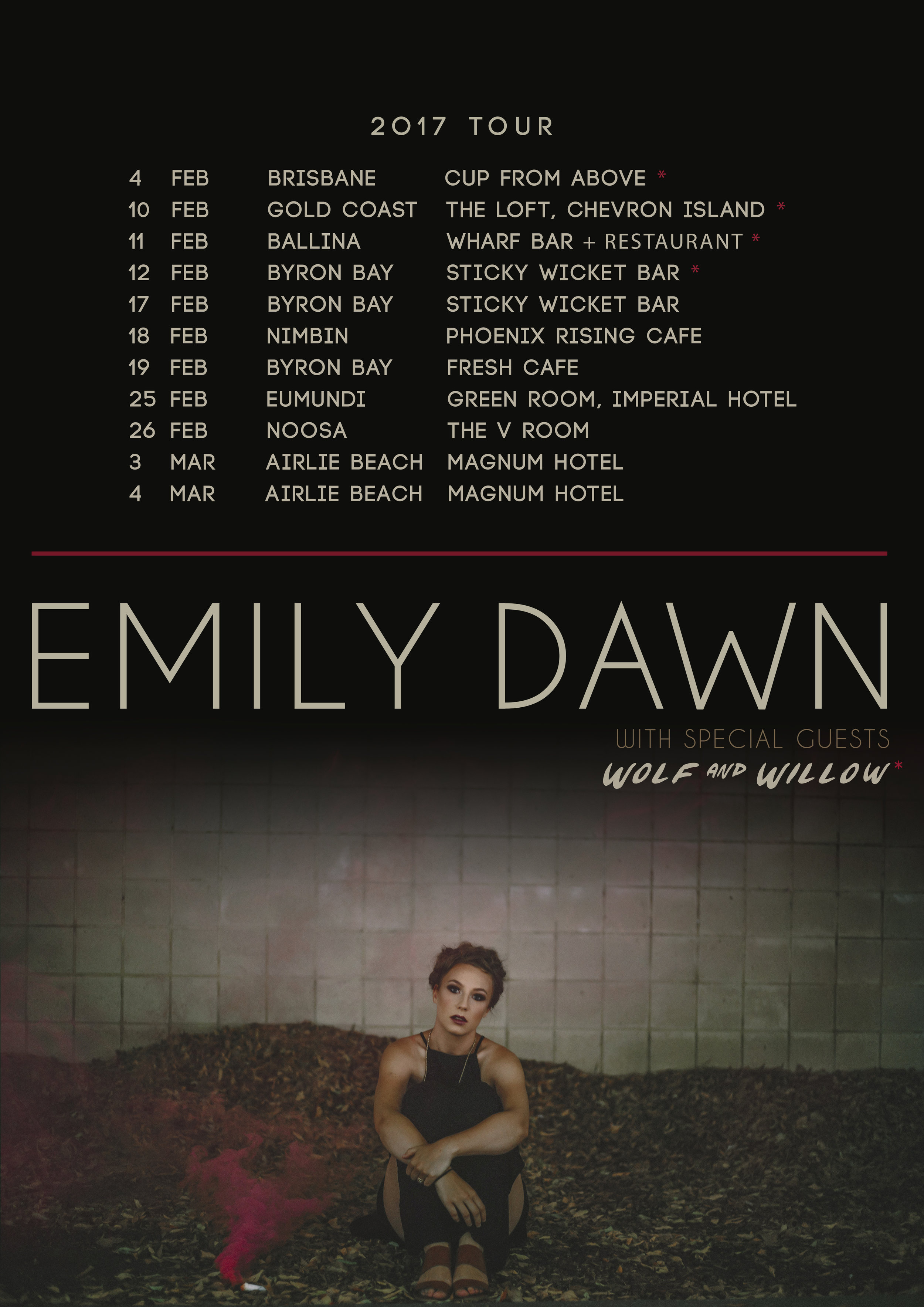 2017 Tour Poster for Emily Dawn Music