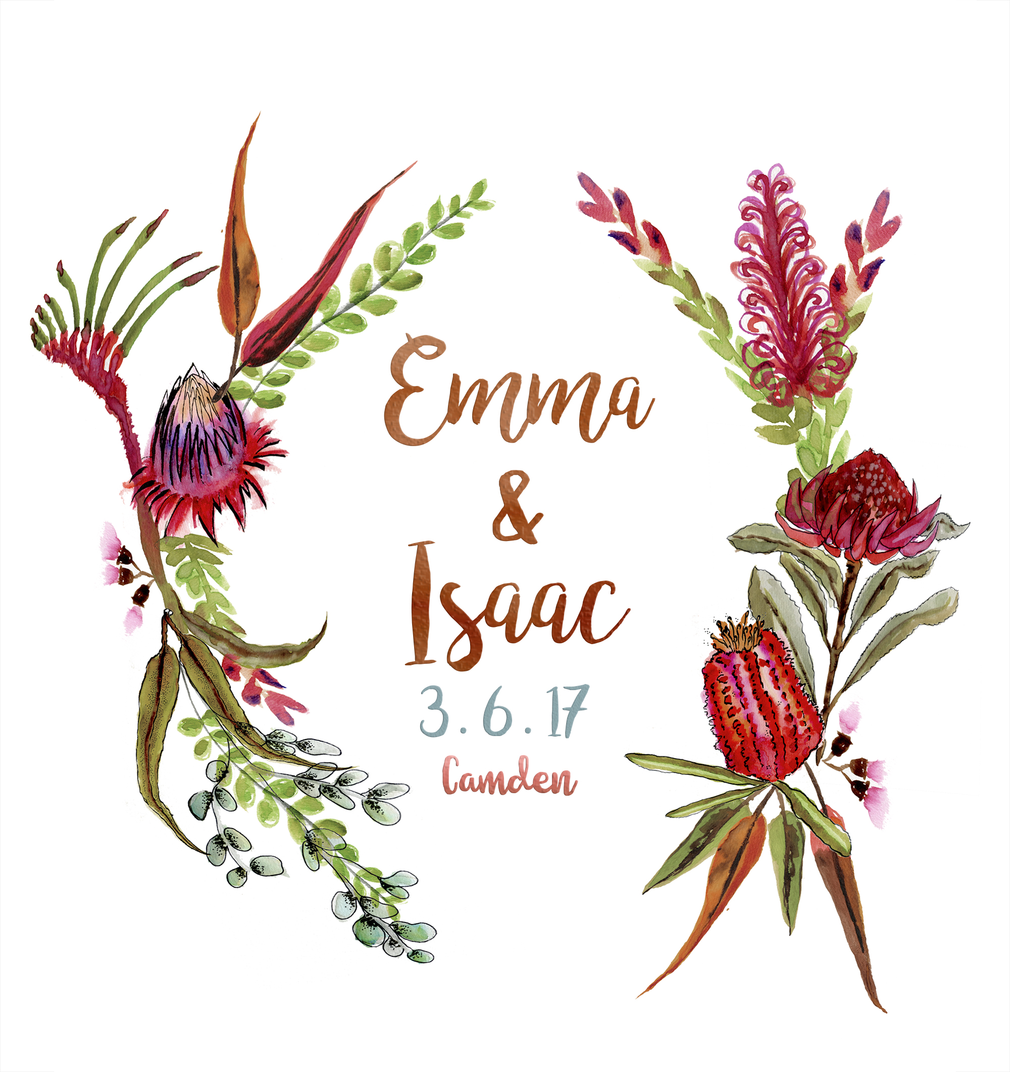 Emma & Isaac Watercolour Wedding Save the Dates