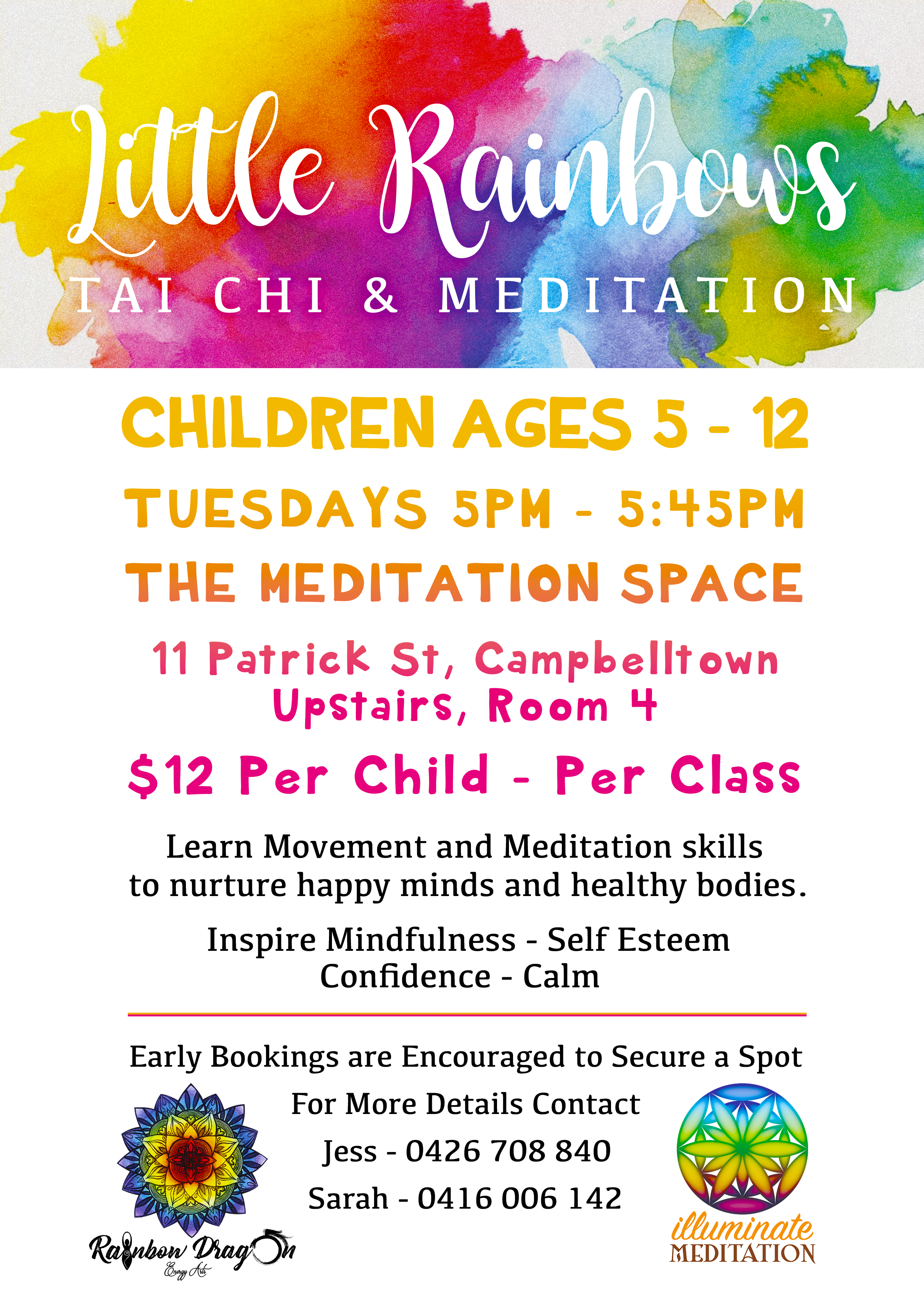 Poster Flyer for 'Little Rainbows' a Local Tai Chi & Meditation Class for Children