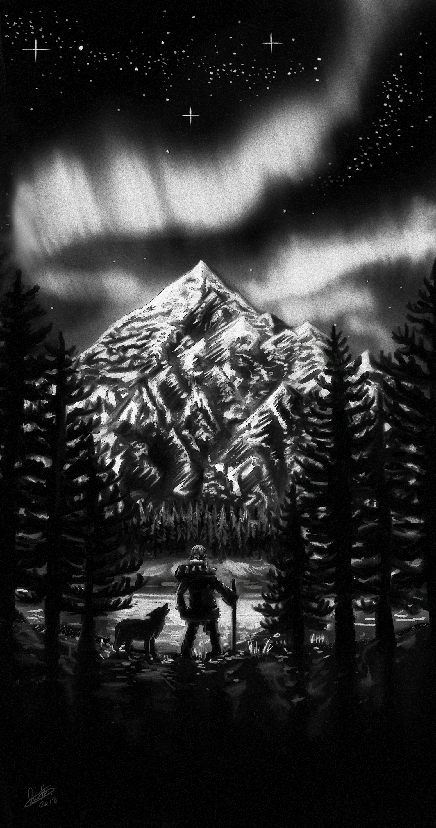 """A Tattoo Design Completed in 2018, the brief was """"A Mountain Scene with an Aurora, lots of snow. Pine trees, The Tattoo had to match an existing tattoo in its art style."""