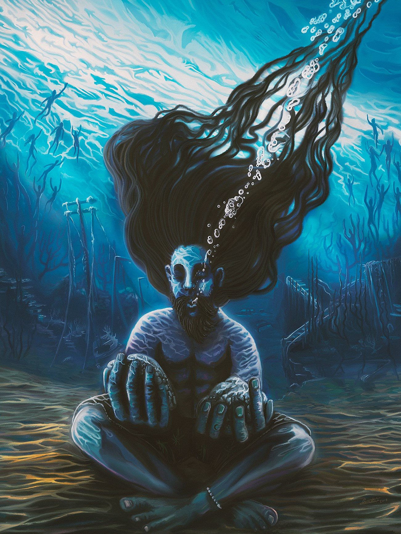 A recent work this month entitled 'The Freediver' representing personal peace in a chaotic world.