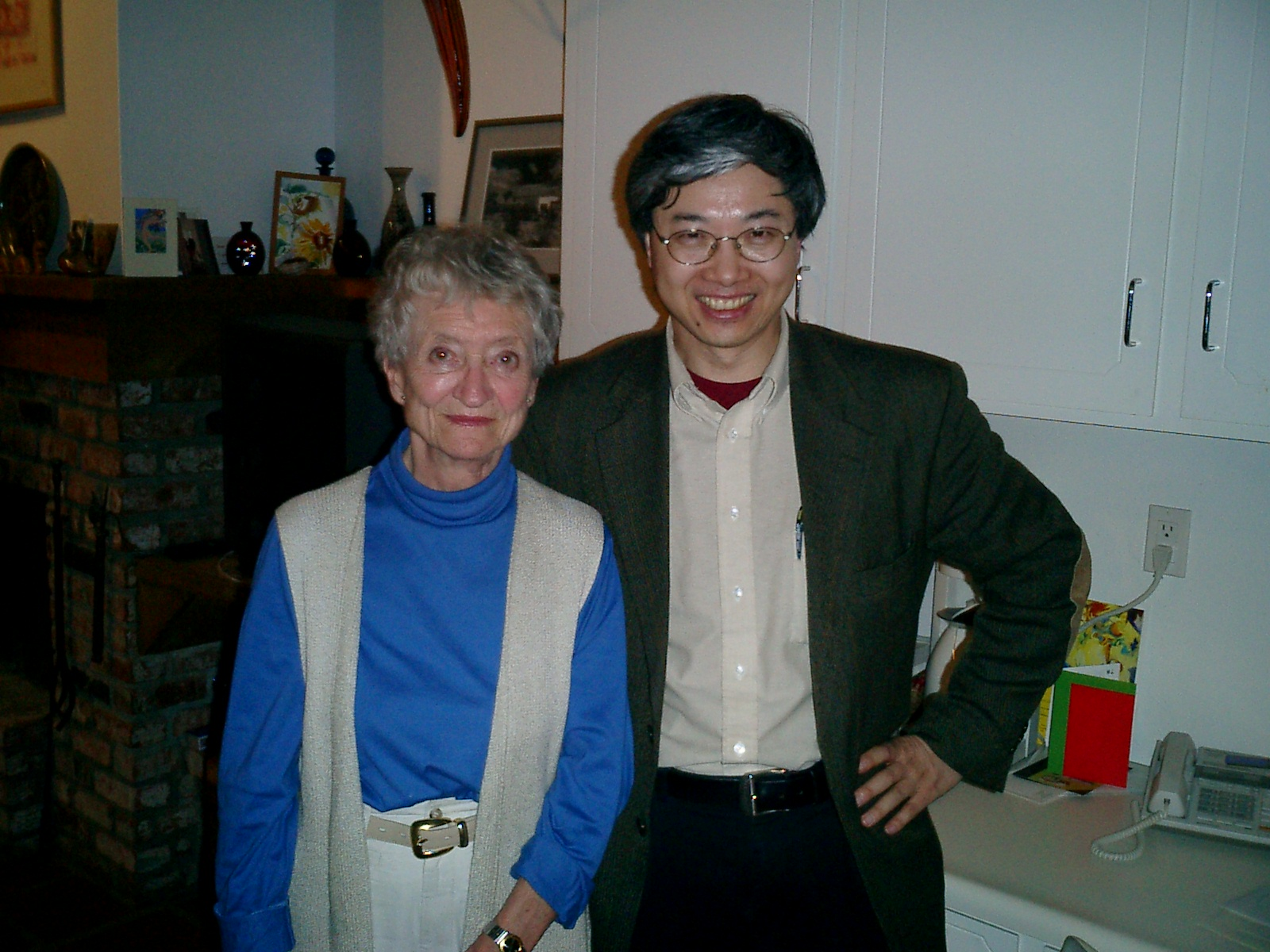 With Odile Crick in their home in 2003.