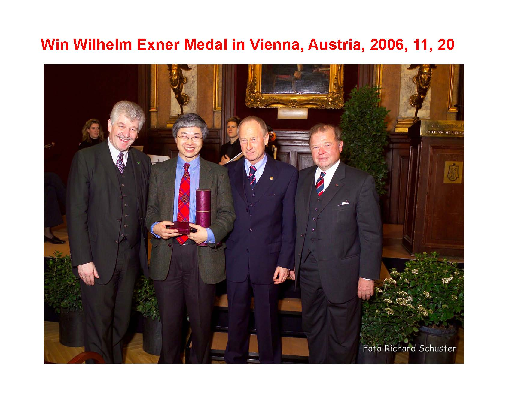 Receiving the Exener Medal, Vienna, Austria, 2006.