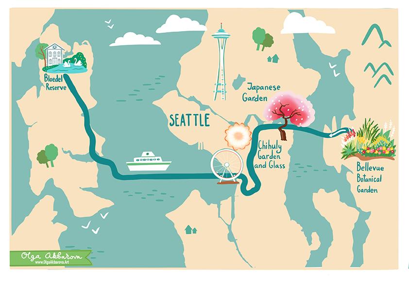 Seattle Gardens Map for Garden Design Magazine