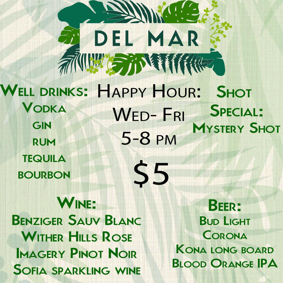DELMARMENU Happy Hour menu stand.jpg