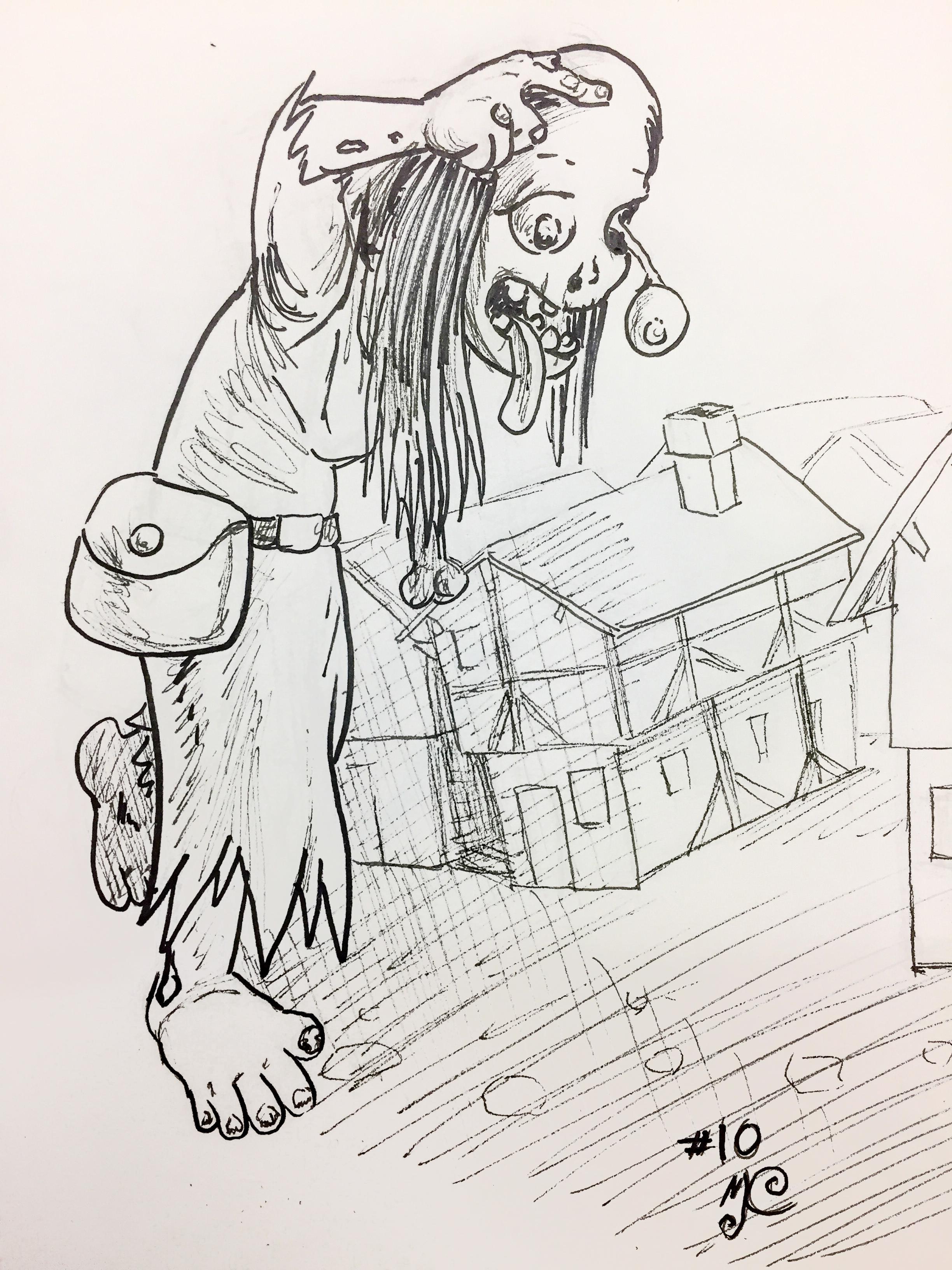 Inktober 2017-10 Gigantic Zombie Witch.JPG