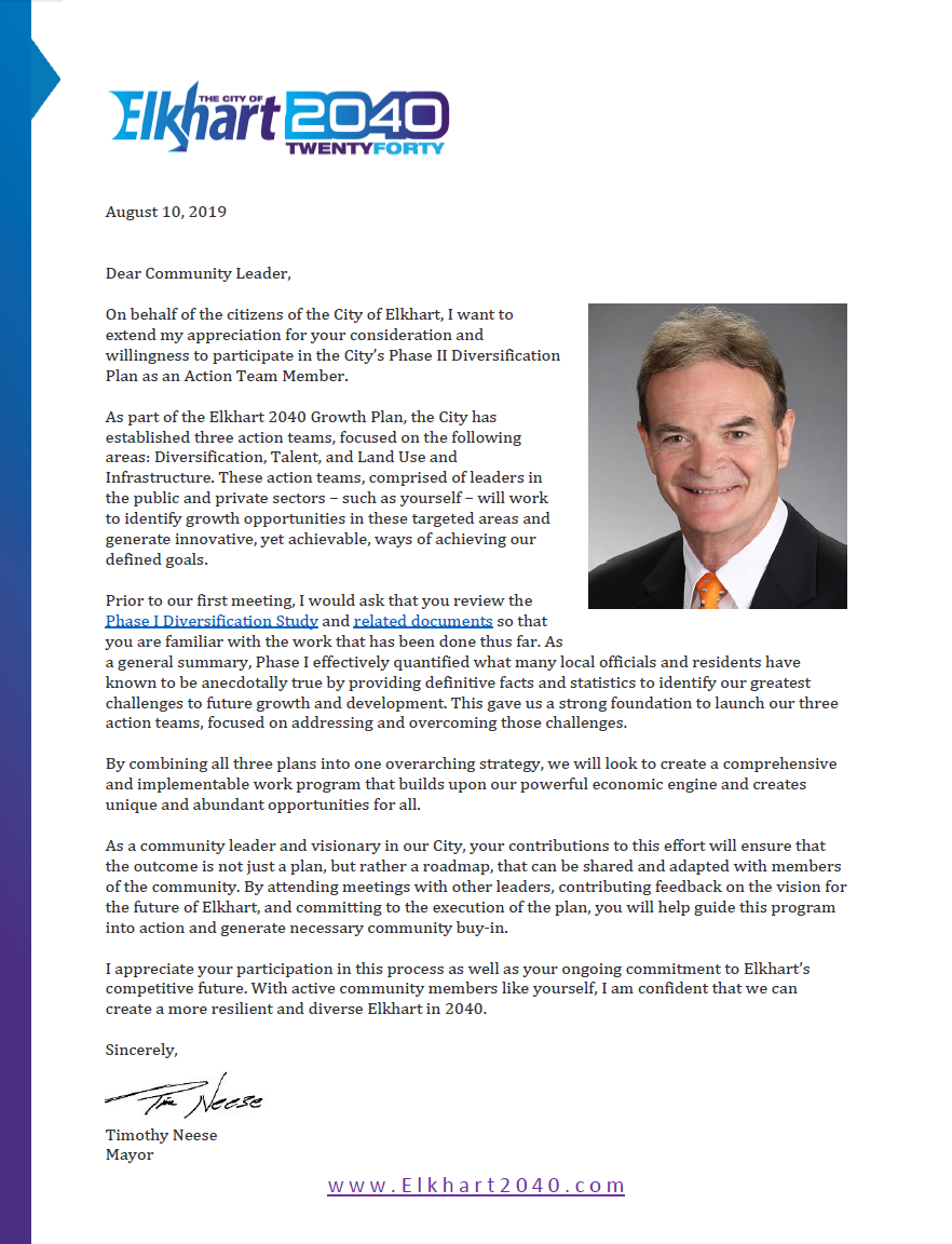 Read Mayor Time Neese's letter to team participants.