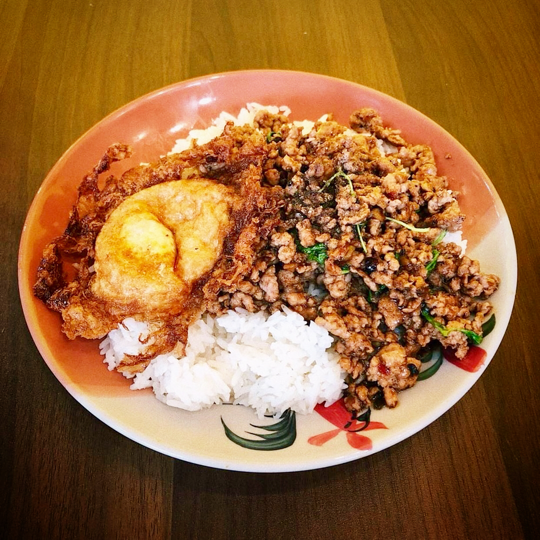 Khao GraPow - Stir Fried Minced Meat With Chili and Oyster Sauce over Rice
