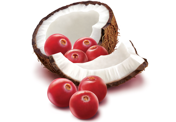 hyper real coconut and cranberries
