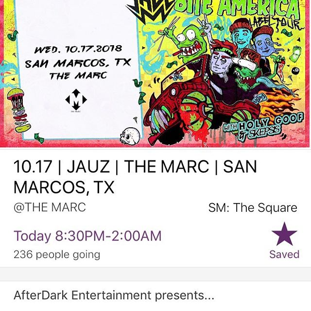 What's the move tonight?  @jauzofficial in San Marcos at @themarcsm. Worth the drive- make it happen!