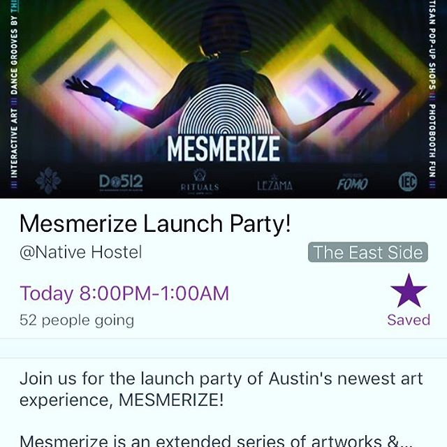 The move tonight? Mesmerize Launch Party at @nativehostel - don't miss it