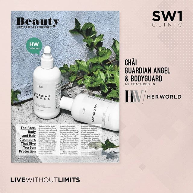 @herworldsingapore recommends! Our range of facial wash and body wash that  incorporates sun protection! . . There's really no excuse for not using sunscreen 🌞 . . . Chái products are available in SW1 clinics and also on www.SW1shop.com . . #sw1clinic #sw1spa #beauty #skincare #antiaging #livewithoutlimits #glowingskin #fightwrinkles #sunprotection #sunscreen #spf30