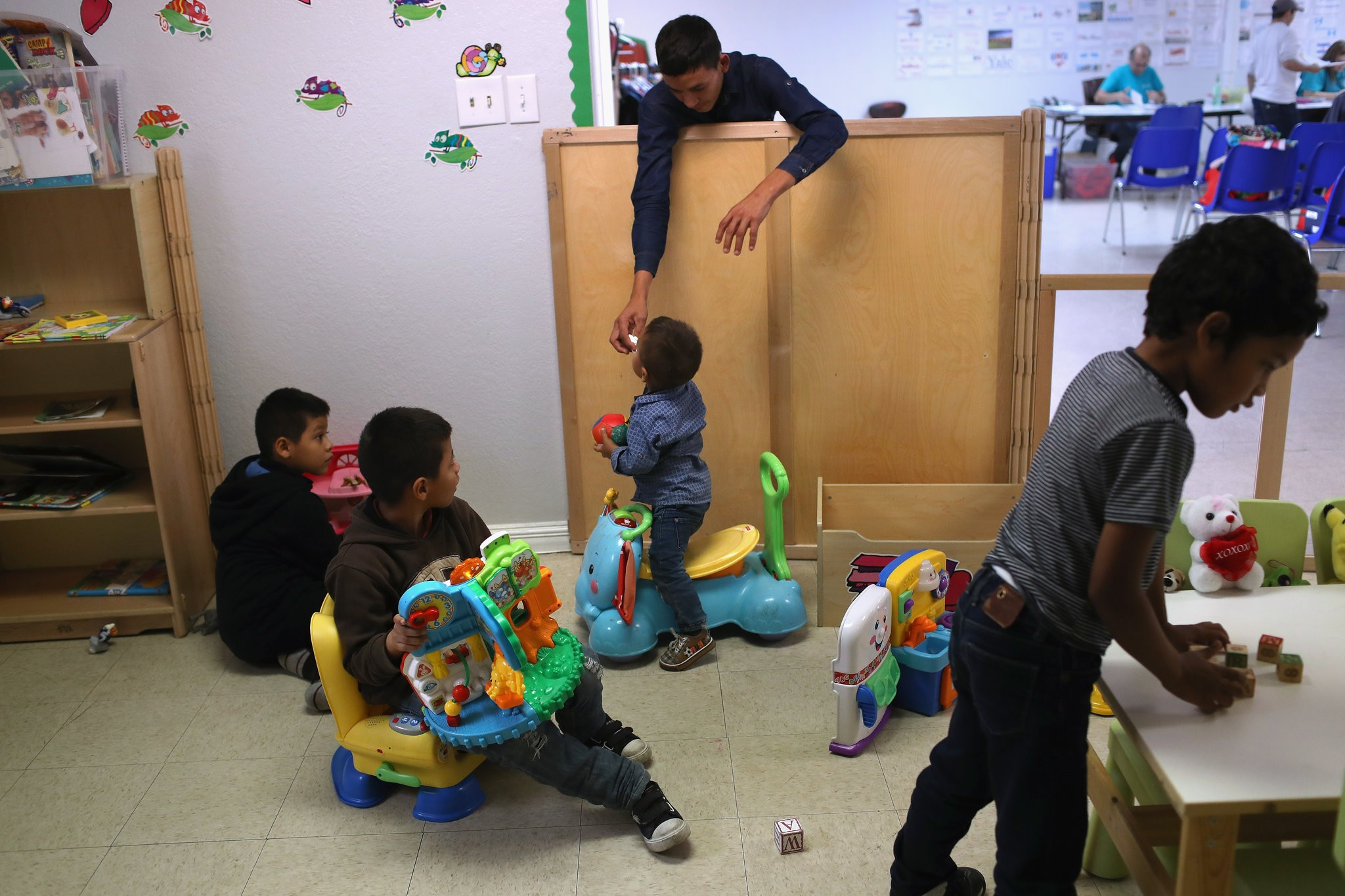Central American children at an immigrant respite center in McAllen, Tex., after their families were released by United States immigration officials in February. Source: NYT. Credit: John Moore/Getty Images