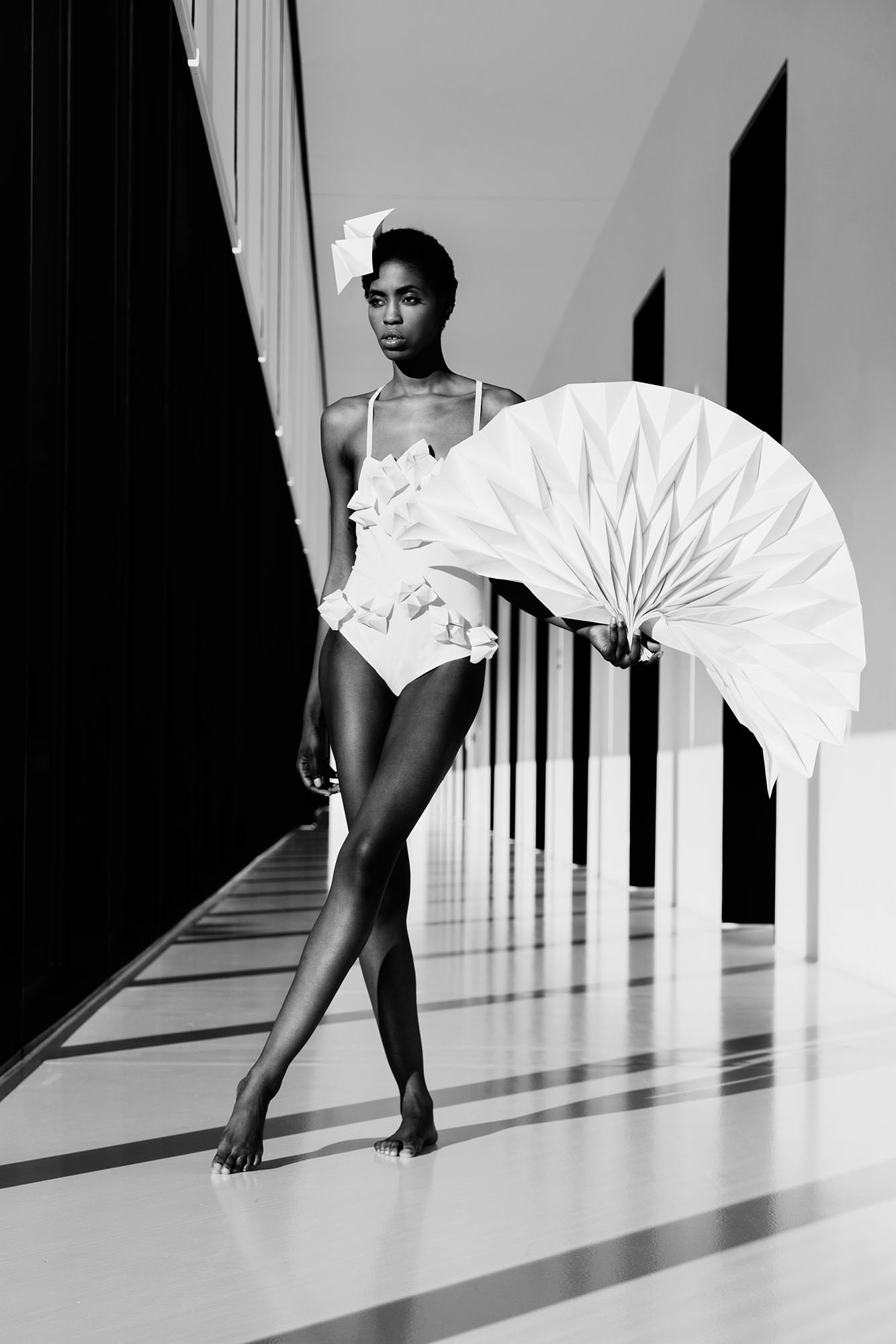 Leica Portrait Black and White Women Paperdress