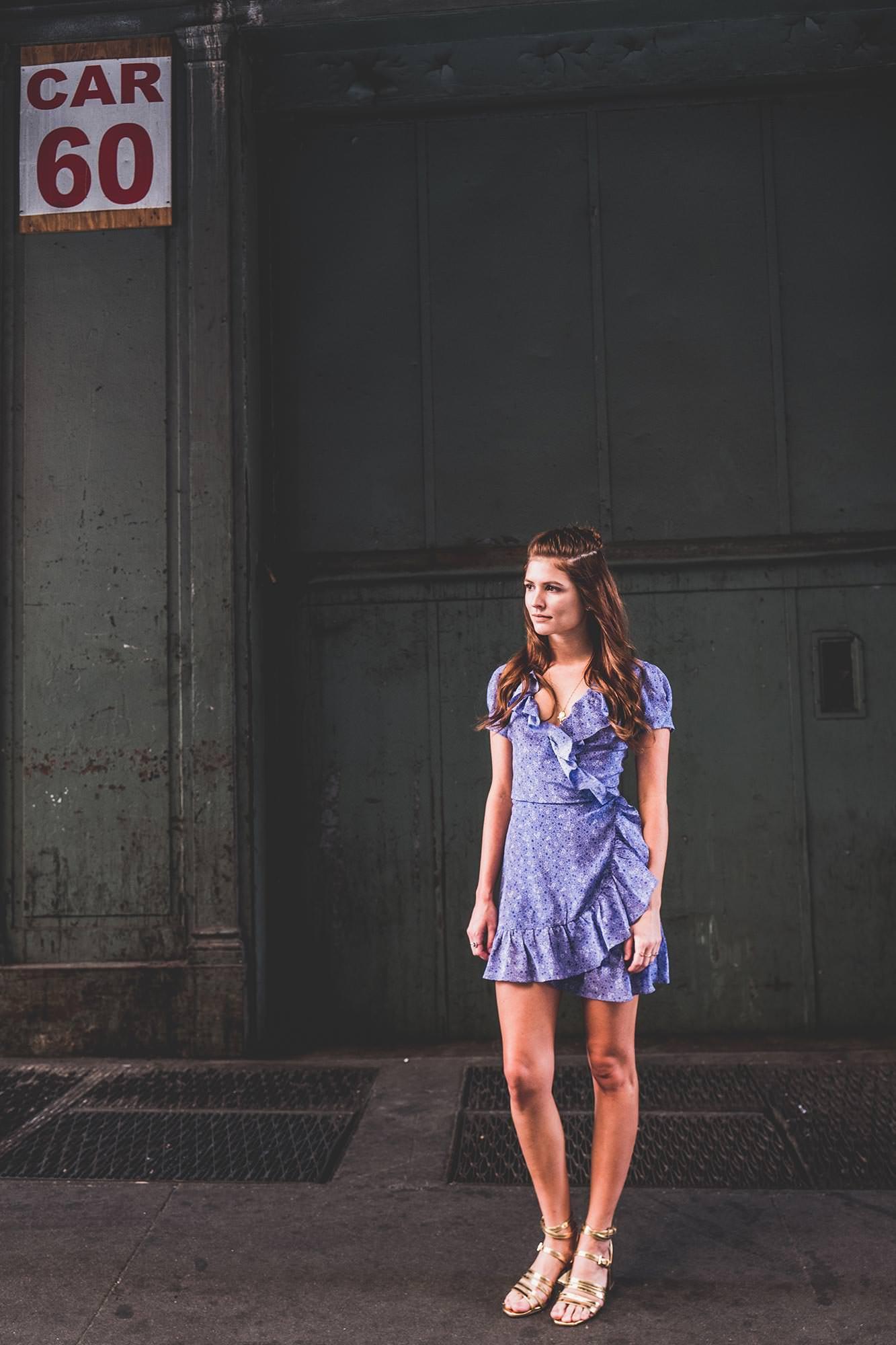 Model blue dress in New York