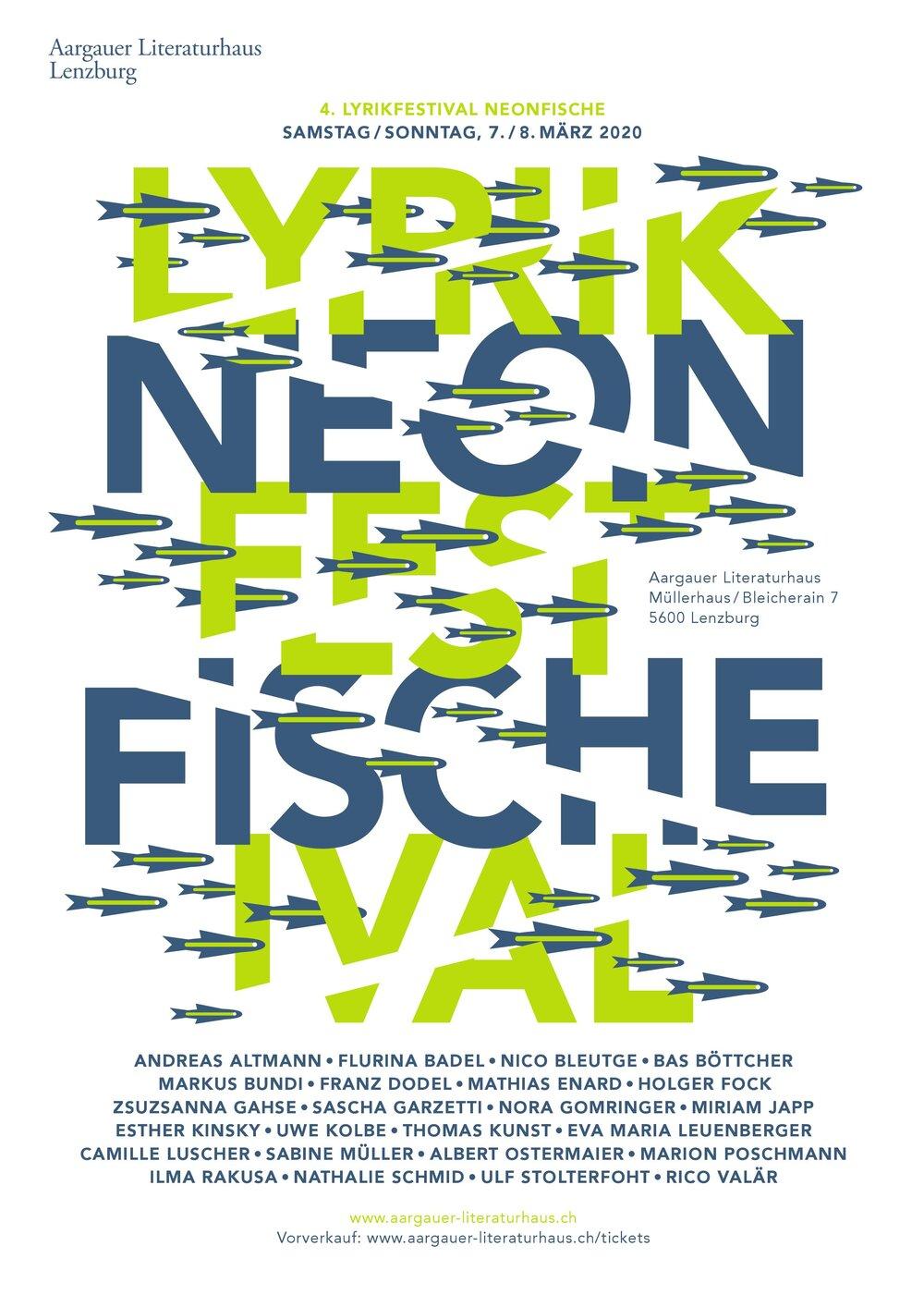 Unser Plakat zum Lyrikfestival Neonfische 2020.