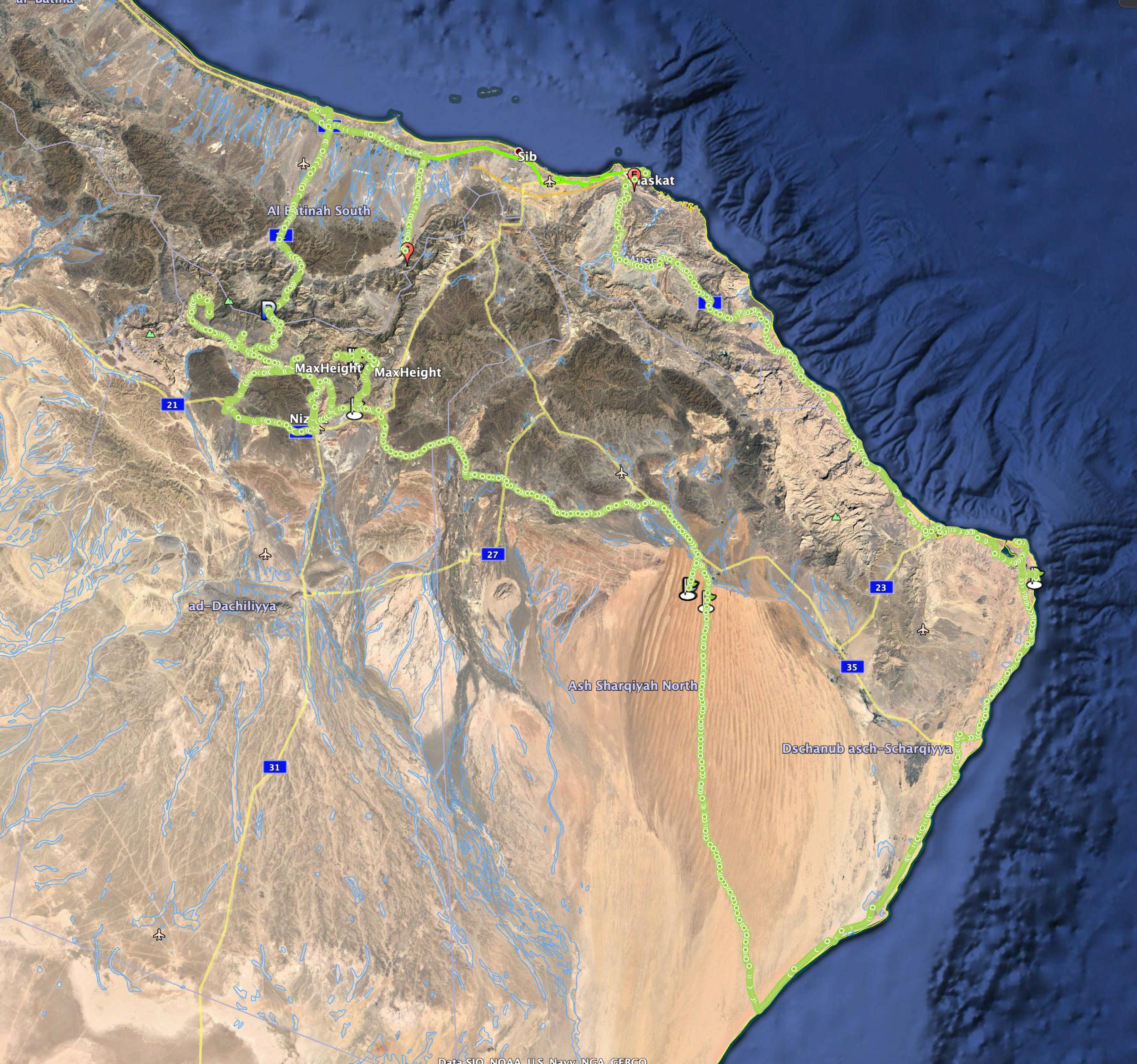 Vår rutt genom Oman