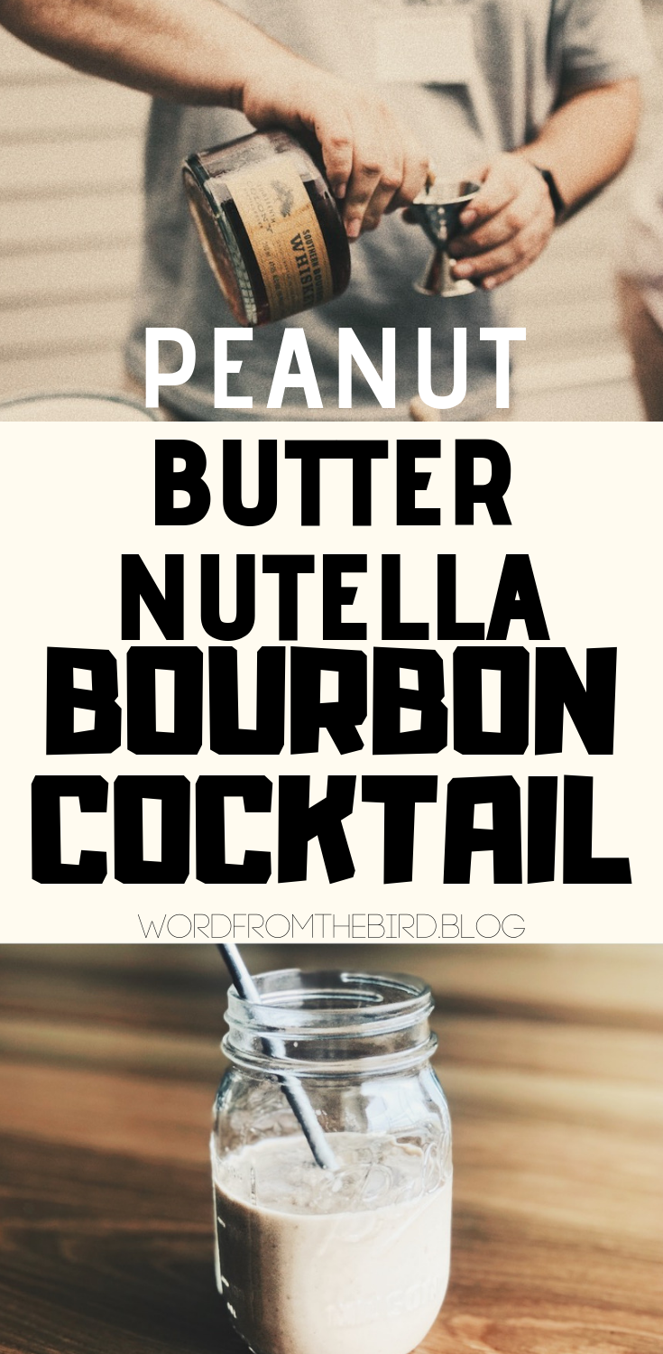 Take a look at this delicious cocktail recipe for summer - it's a perfect combincation of whiskey, nutella, peanut butter, and almond milk. Make it vegan, sugar free, or regular. cocktail ideas/summer cocktails/whiskey/bourbon/drink ideas/vegan/almond milk/peanut butter/chocolate/easy/different/alcoholic/creative/bar/party.