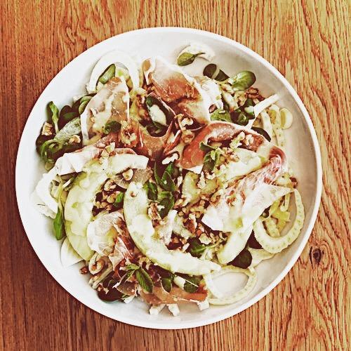 Fennel Prosciutto and Melon Salad