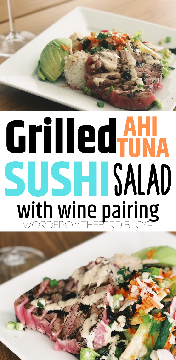 Looking for a yummy summer date night grilled dinner? Check out my grilled ahi tuna volcano sushi salad recipe. Make sushi without all the hard work of rolling and filling! Deconstructed volcano sushi roll. A healthy salad recipe that will fill you up. #ahituna #tuna #grilled #recipe #fish #sushi #salad #healthy #saladrecipes #sushirecipe #easysushi #easy #homemade #volcanosauce #lunch #summer