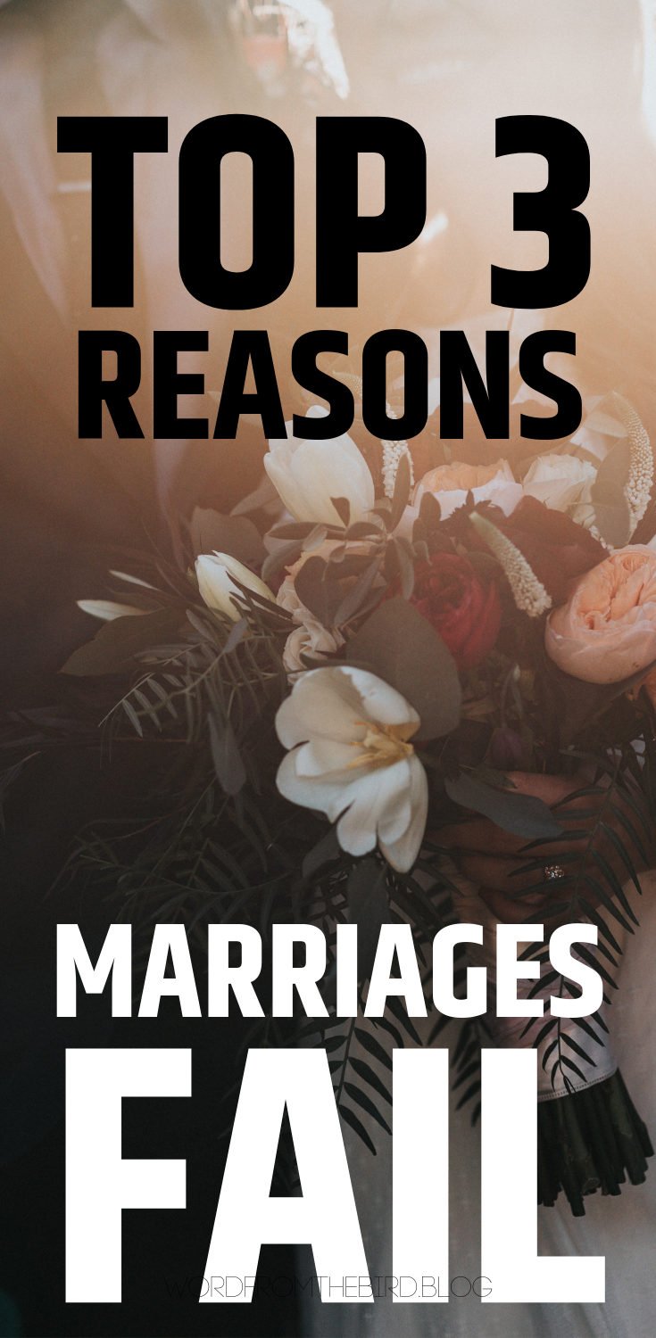 Why do marriages fail, and how you can set yourself up for success in your relationship. Marital help for struggling marriages. Word from the bird relationship blog answers questions about divorce, and relationship struggles. #relationshipadvice #love #marriage #forwomen #formen #tips #help #forcouples #articles #blogs
