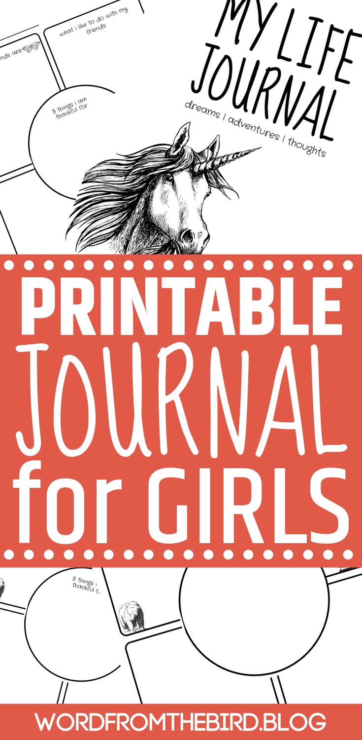 Check out this creative and unique printable journal for kids. At the convenience of your own home, print out a special gift for your daughter that will encourage her to document her life, share her struggles, and help her to arrive at gratitude. Journaling is one of the best ways to help your kids acknowledge their feelings.#journal #journaling #journalprompts #printable #mylifejournal #wordfromthebirdblog