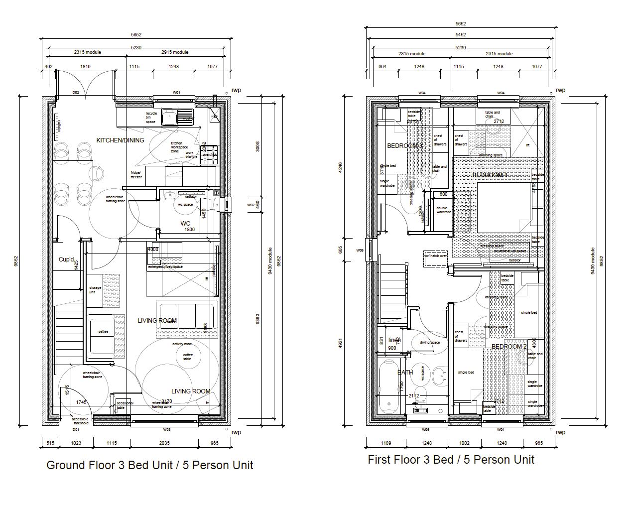 Precision Homes Helford 3 Bed 5 Person Floor Plan