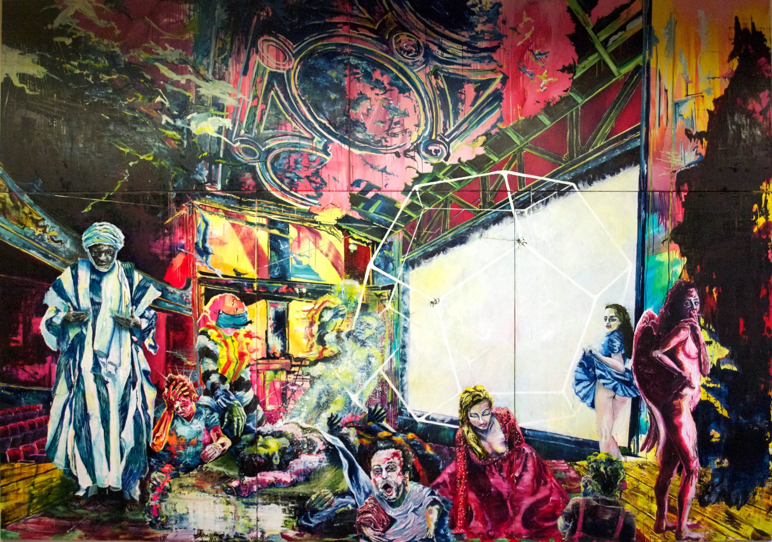 """""""Renaissance of Wonder I"""" oil and spray can on linen 390x550 cm (5 panels) 2016"""