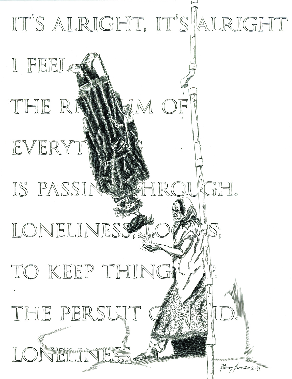 """""""The pursuit of void"""" Indian ink on paper 65x50 cm 2013"""