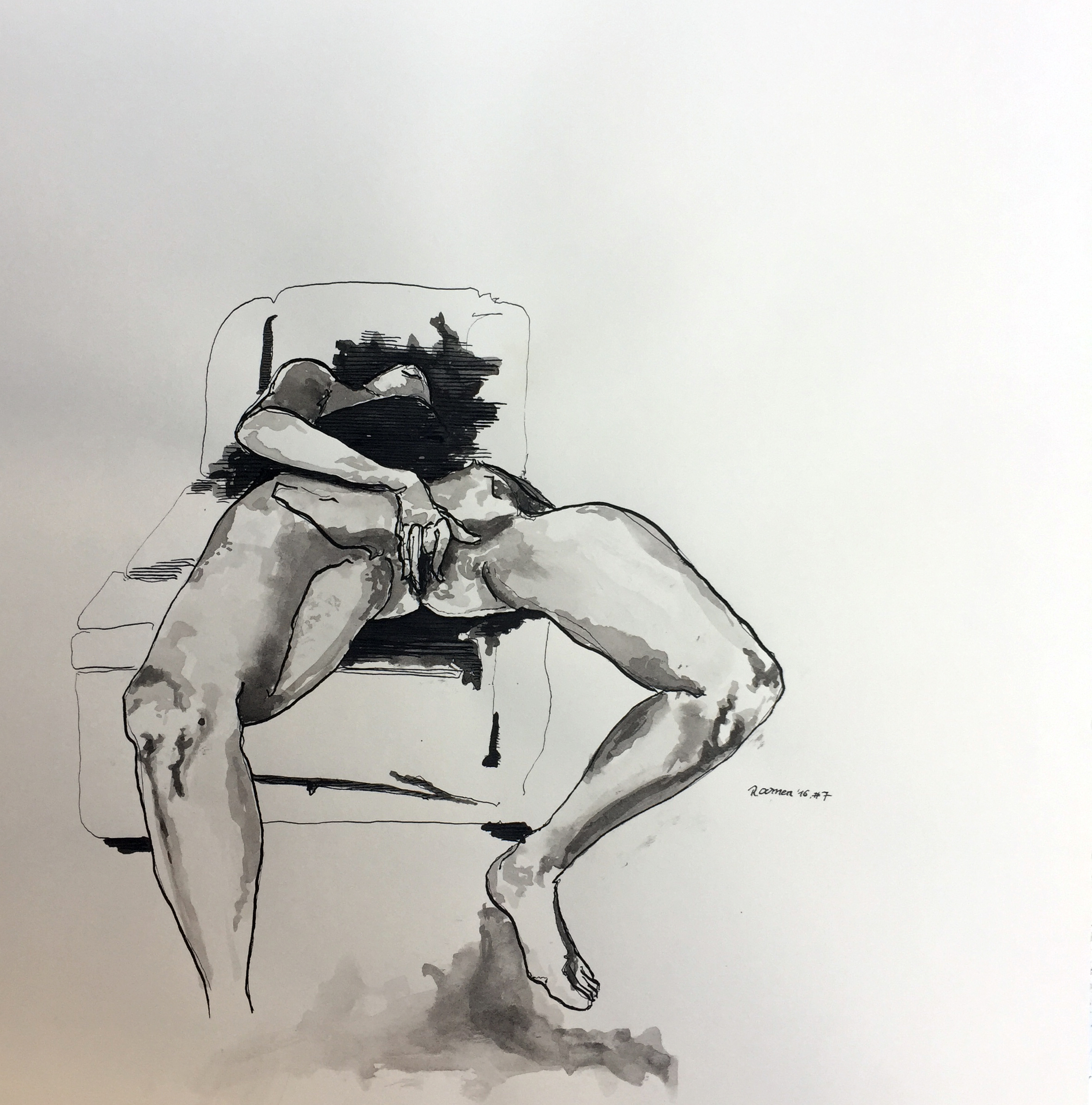 Arousing model on chair Indian ink on paper 40x40 cm 2016