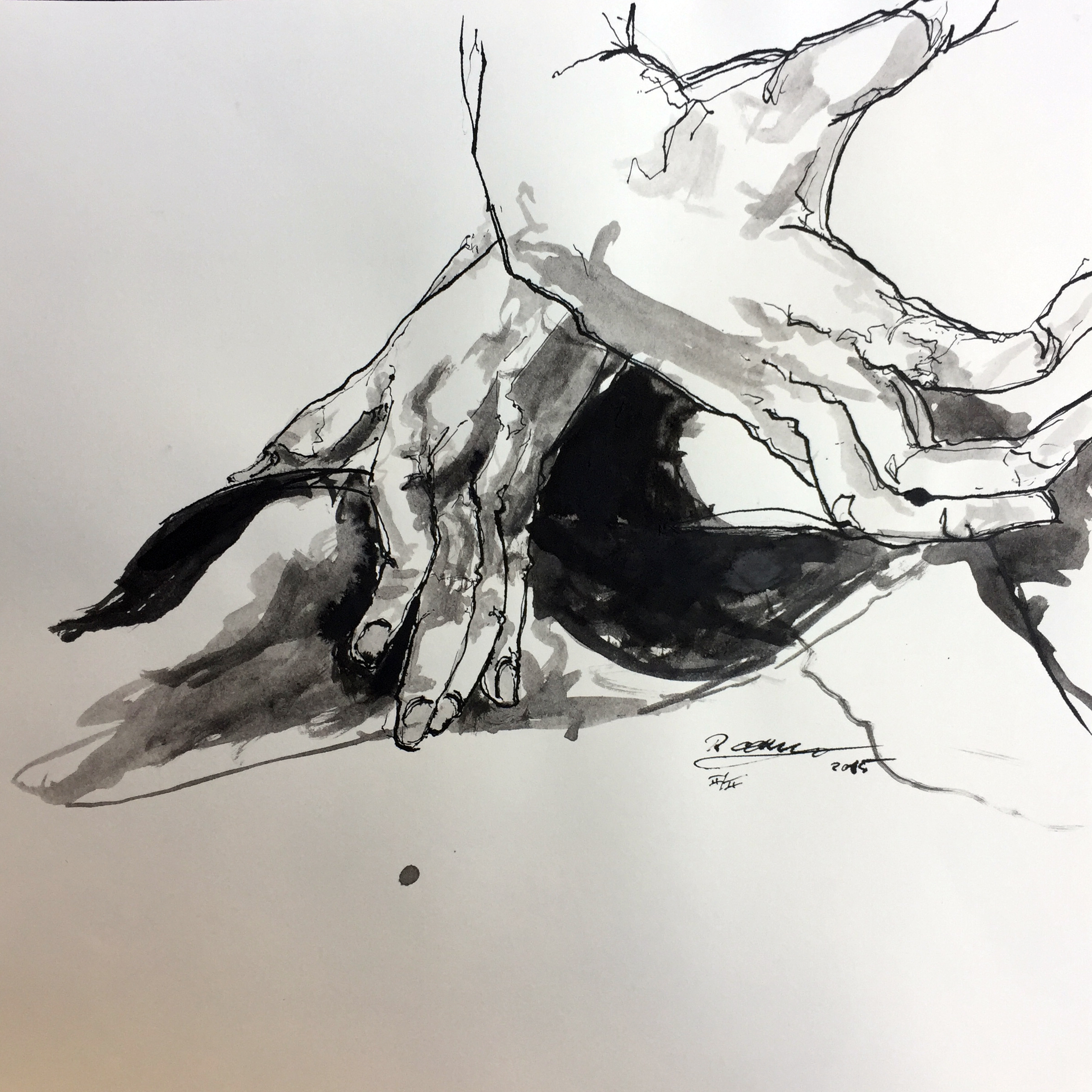 Sketch of hands Indian ink on paper 40x40 cm 2015