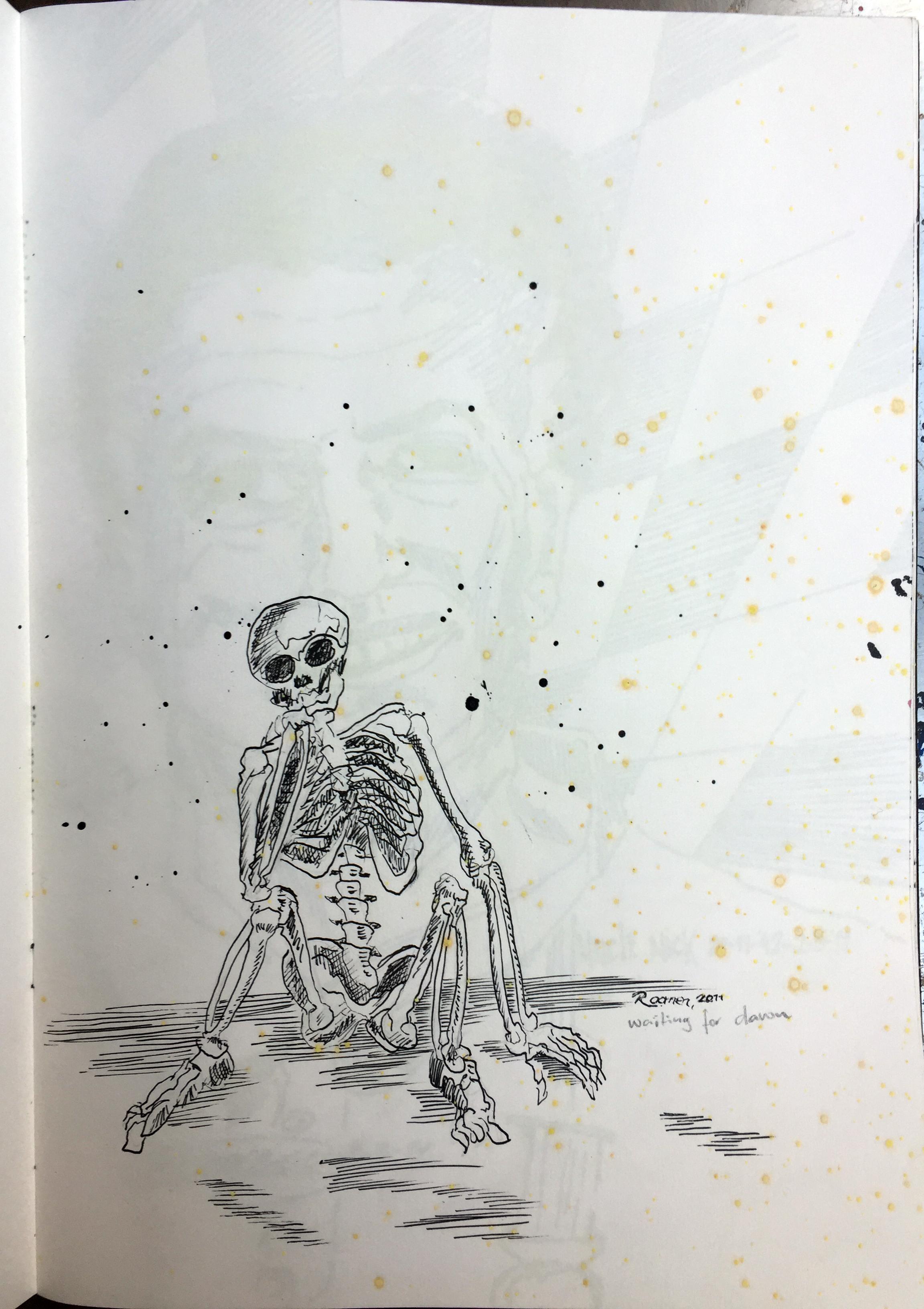 skeleton wondering ink on paper 42x29,7 cm 2011