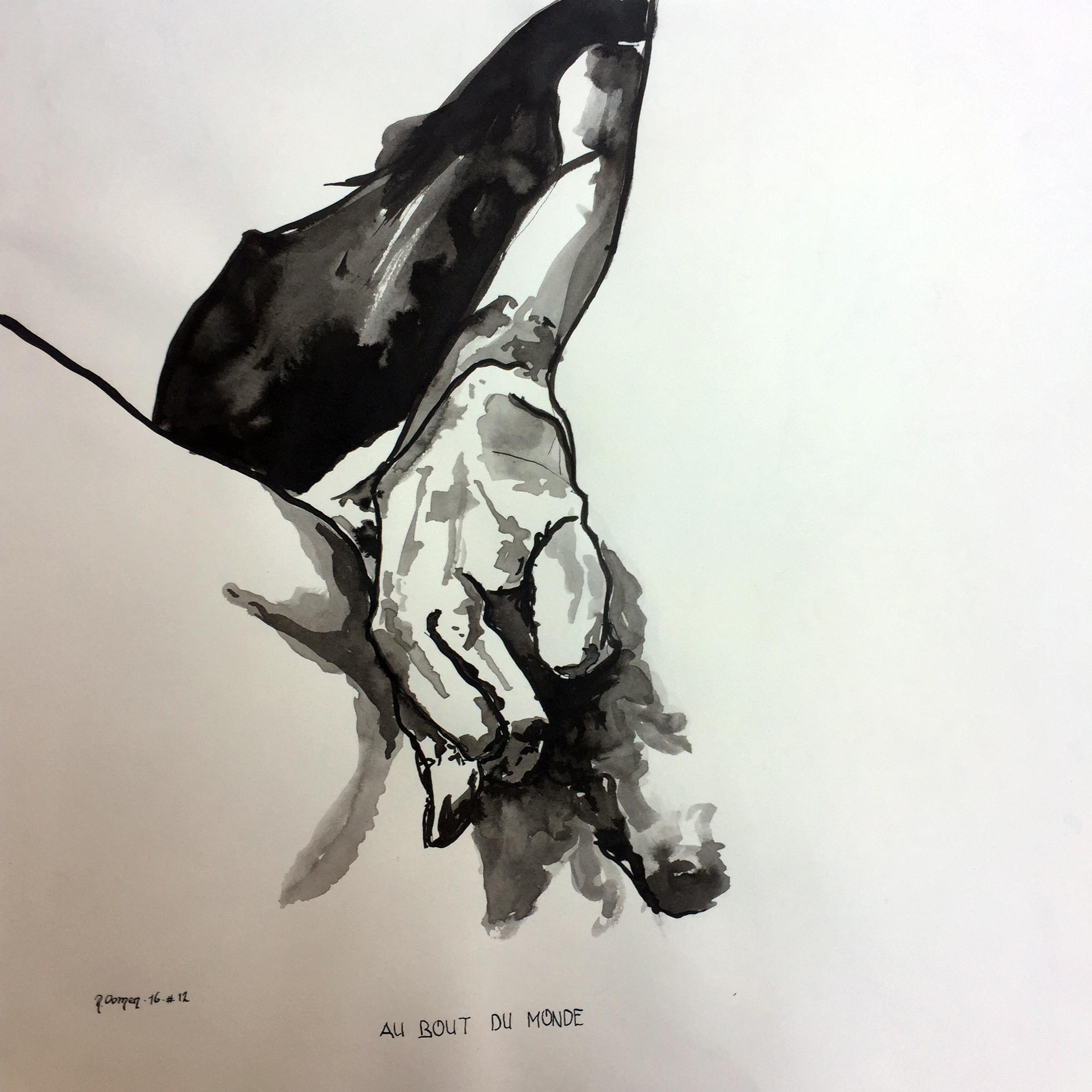 A bout du Monde indian ink on paper 40x40 cm 2017