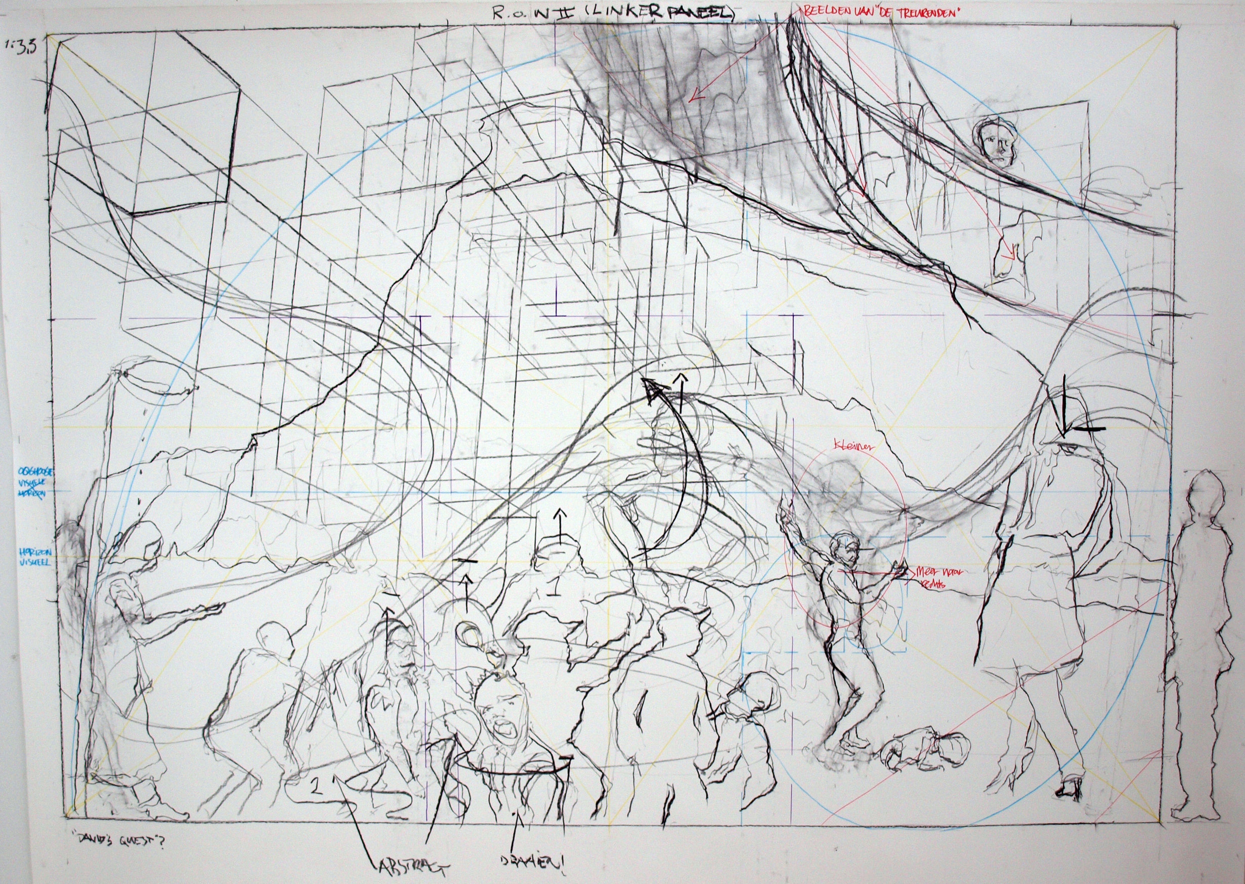 Sketch for Renaissance of Wonder II scharcoal and markers on paper scale 1:3,5 (paper size 150x197 cm) 2016