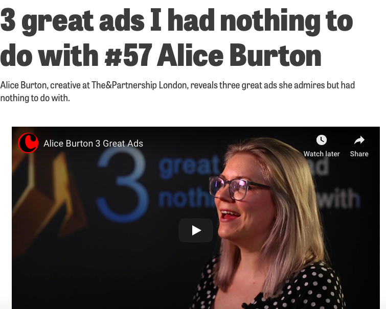 thinkbox 3 great ads - Spoiler, I chose Skoda Cake, Playstation Double life, and Always Like a Girl.https://www.campaignlive.co.uk/article/3-great-ads-i-nothing-57-alice-burton/1588754