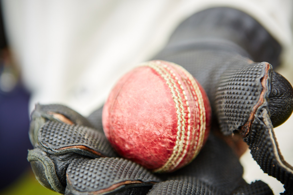 Wicket keeper holding the ball