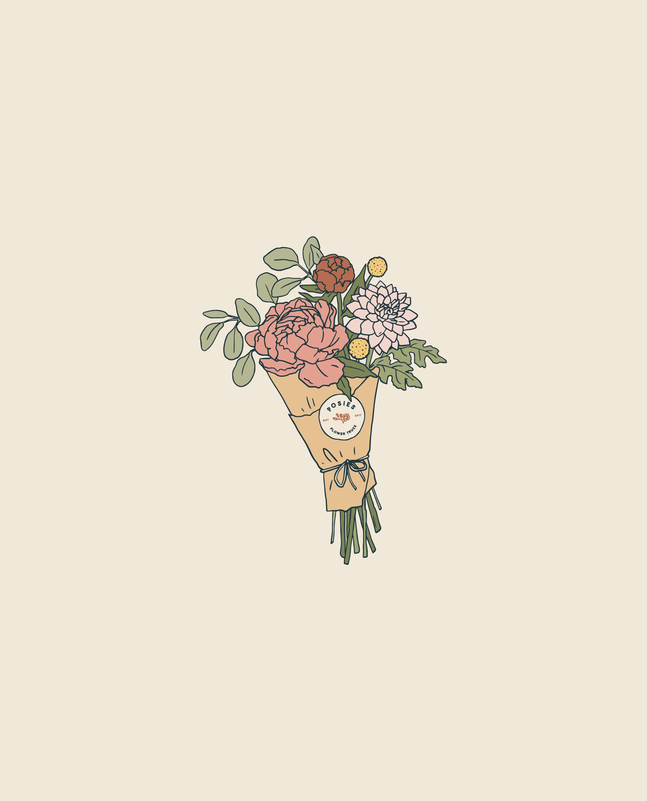 Posies Flower Truck | Enamel Pin Design