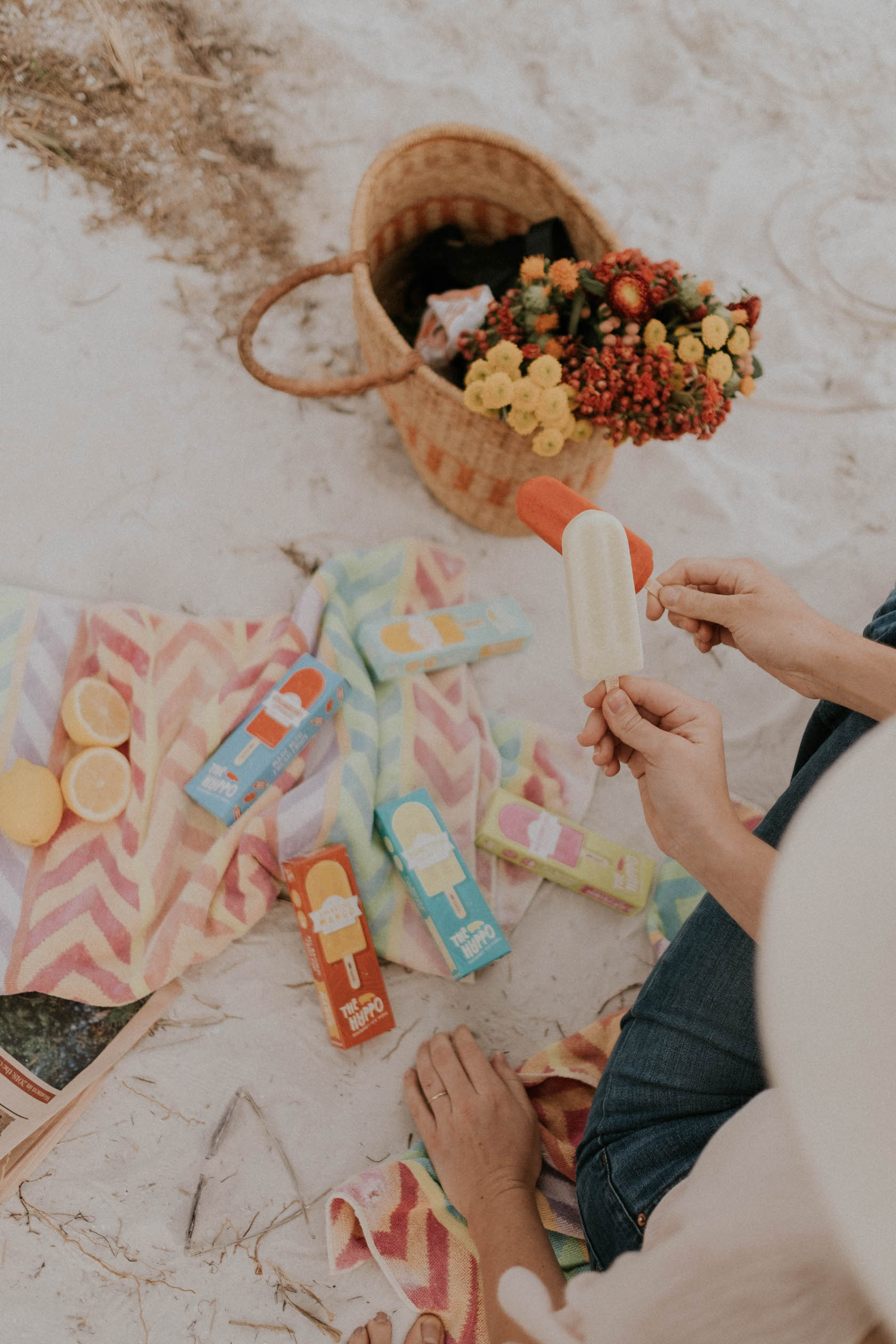 An ice pop picnic at North Shore Park in St. Pete, FL!  Pictured: Honeydew Green Tea + Strawberry Lemonade