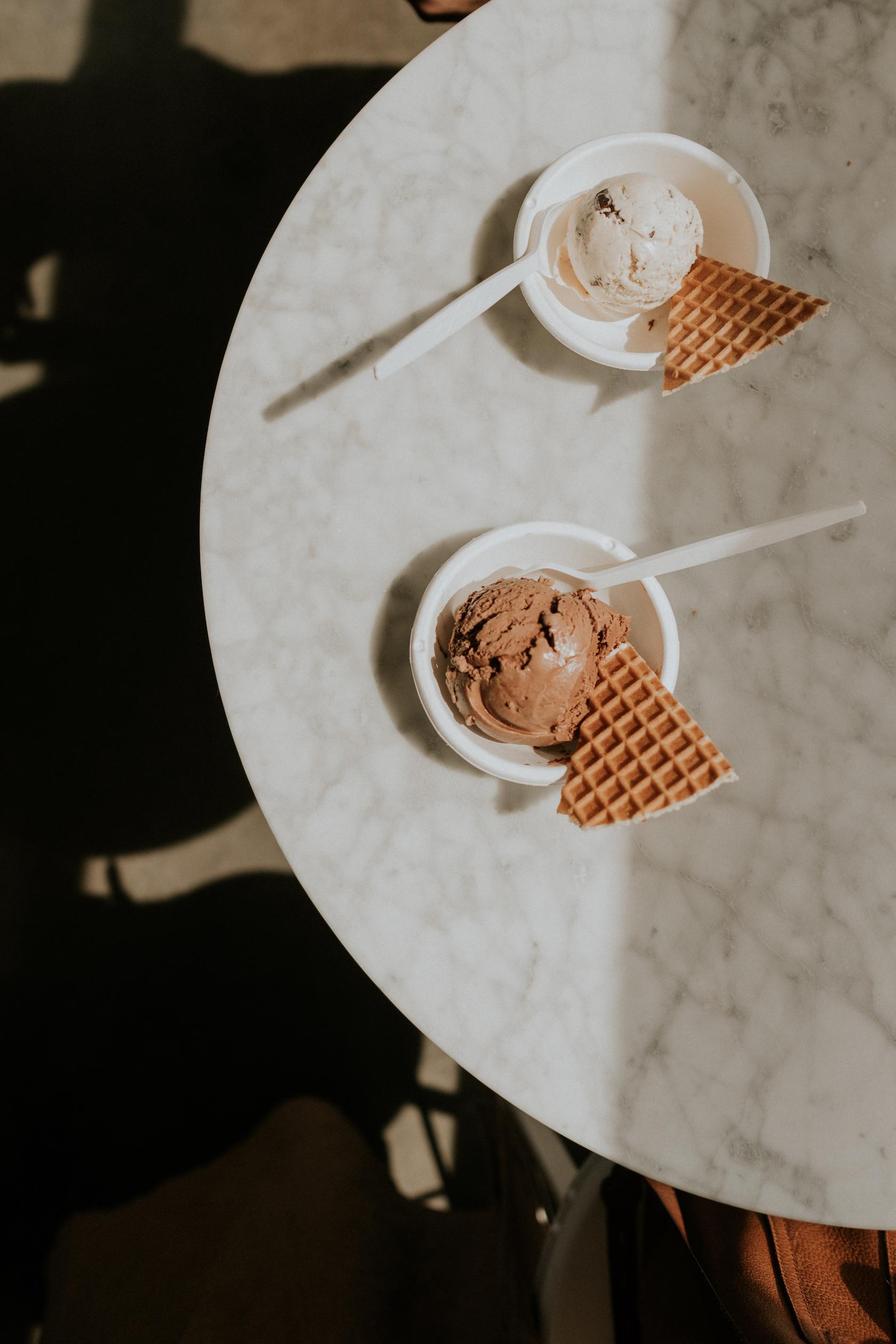 Top: Salted Peanut Butter with Chocolate Flecks  Bottom: Dairy-Free Dark Chocolate Truffle