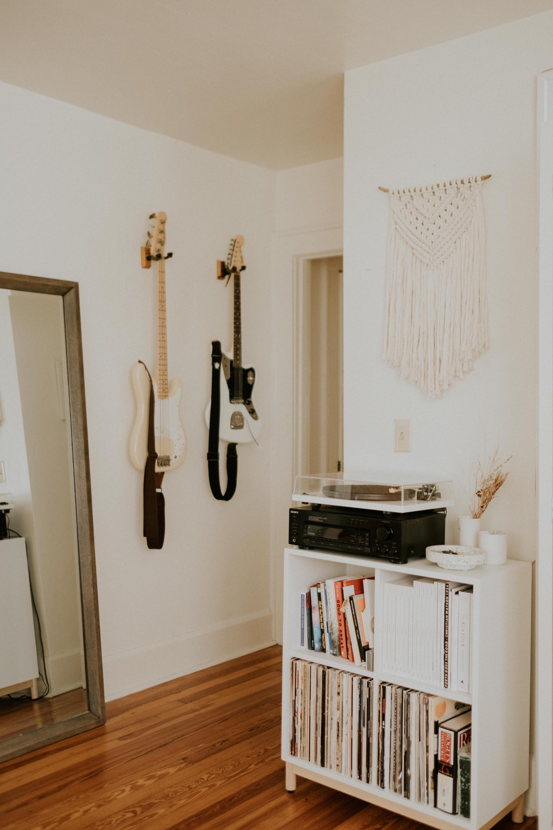 Record Player Console:  IKEA   Macrame:  Elizabeth McTague