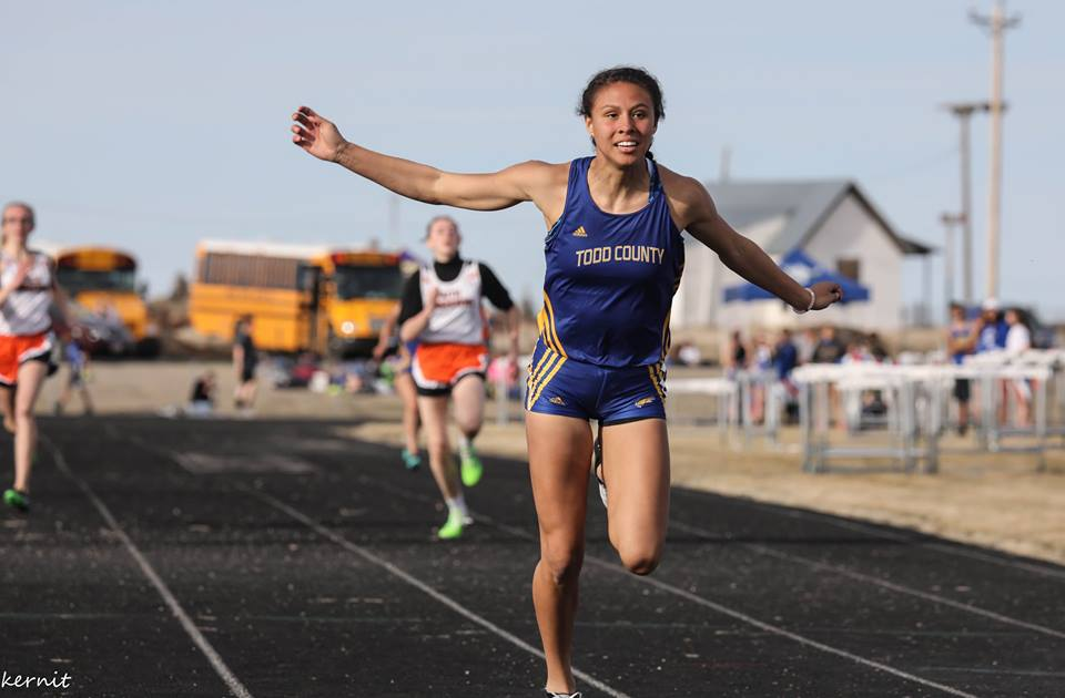 - Caelyn Calandra-Prue won the 100/200 and 400 events in Kadoka. The Falcon freshman broke state qualifying standards in each of her events.