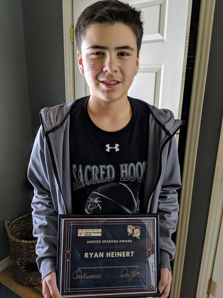 - Got a call from the school yesterday as Ryan received the Unified Spartan Award for kindness and caring at assembly today.It reads