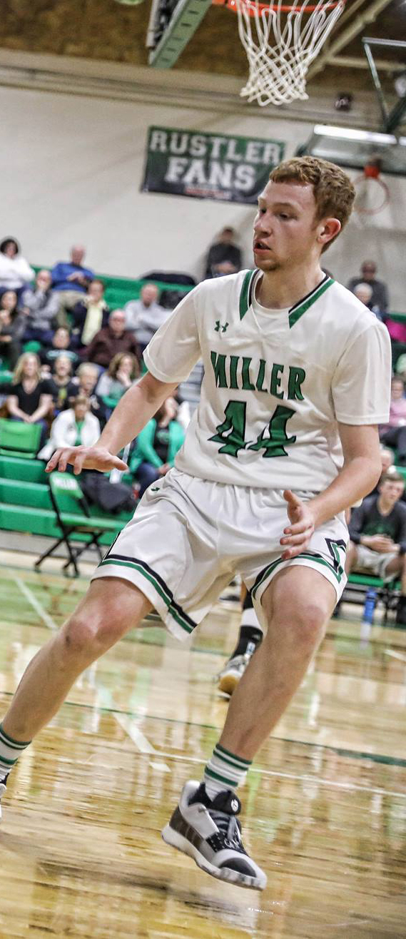 - With the graduation of first-team all-stater, Karst Hunter, the Miller Rustlers will be looking for players to fill that void. Tyler Schumacher - 6-foot-2 forward is a good place to start.
