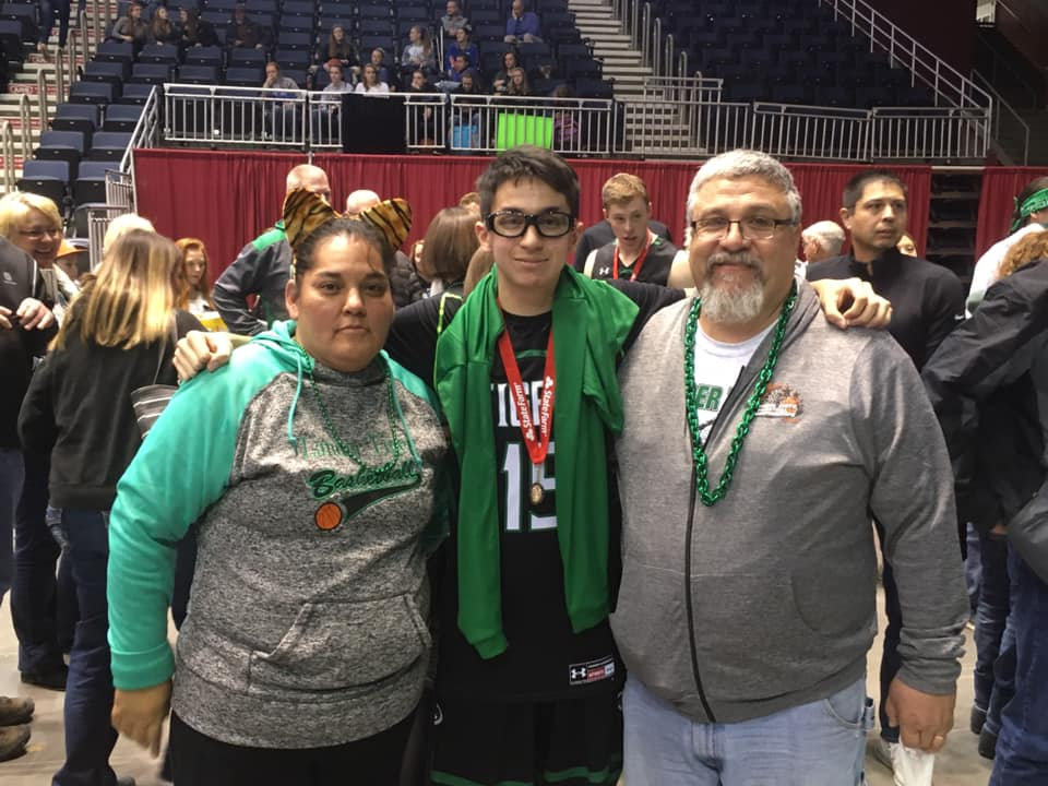- Lander Wyoming sophomore, Peja Cook, pictured with his parents, Rosalee and Dana Cook will be playing this summer on Jordan Long's West River 16-u squad.Terrance EastmanSchool: RC CentralPosition: 6'1