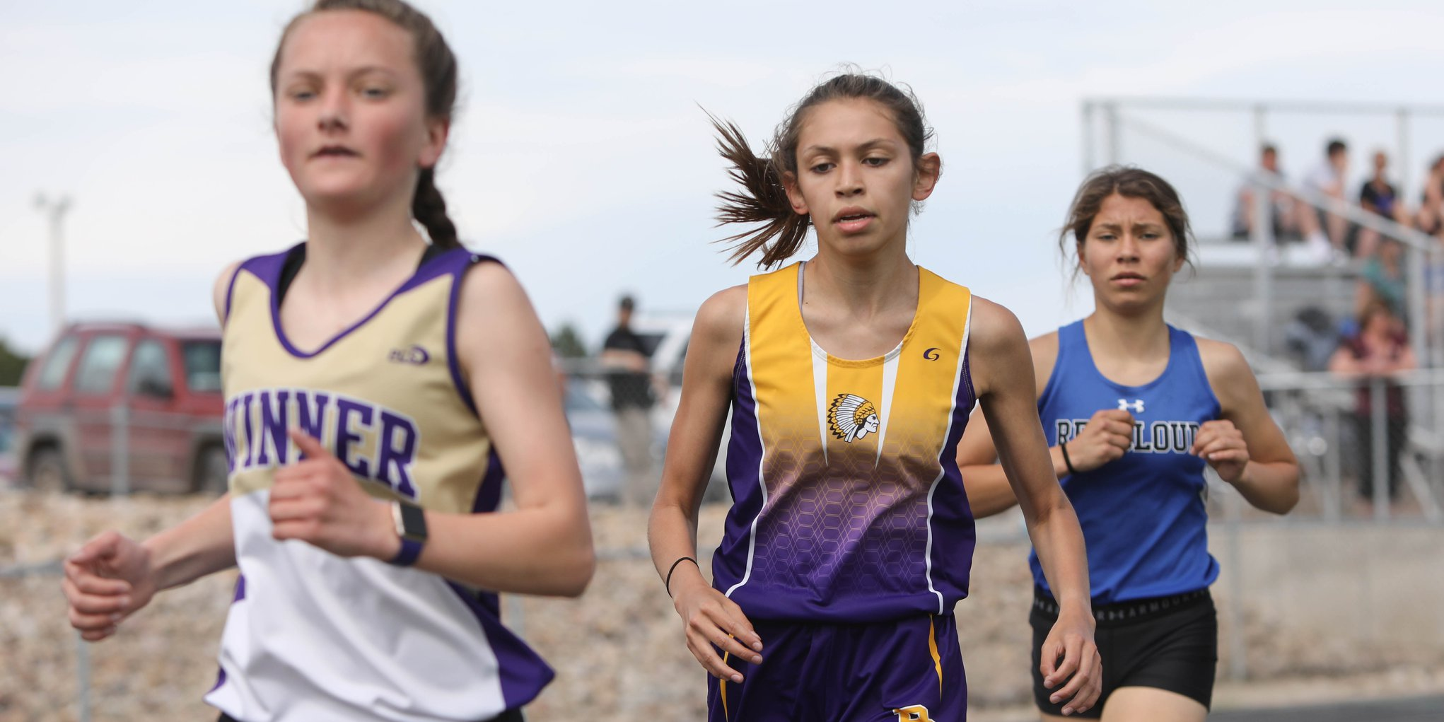 - At center is Bennett County 8th-grader, Taylor Bylerly who won the 1600 meters over Winner's Sidda Schuyler and Red Cloud's Jade Ecoffey with a lifetime best of 5:28
