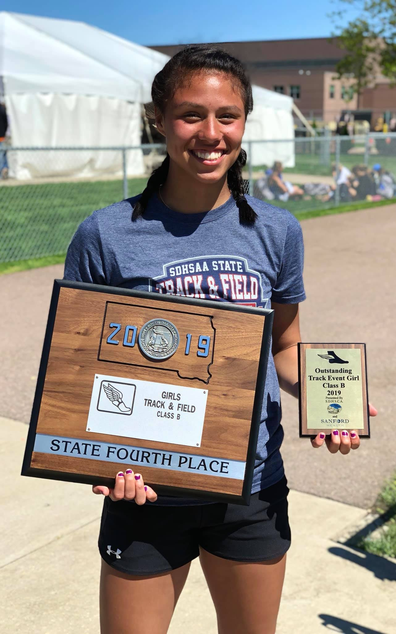 """- CVP was named the outstanding Class B track athlete.As the only White River girl competing in the state meet, CVP racked up 38 points to finish in fourth place as a TEAM.All season long, CVP dedicated her seasons to former TC coach, Tonya Whirlwind Soldier who lost her battle with cancer last fall.""""Seeing her win that like we planned all year, and her saying she wanted to do it for Tonya means the world!! Her placing 4th as a team made me think about her drive and her personal definition of team """"(T)onya (E)xists (A)round (M)e"""""""